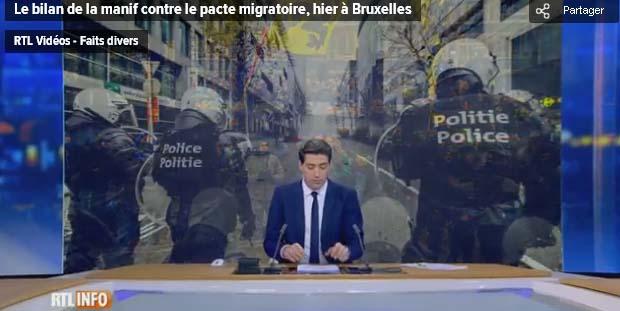"""Actualite Actualite Six personnes arrêtées lors de la manif contre le pacte migratoire: """"Ils ont un profil particulier, différent des gilets jaunes"""""""
